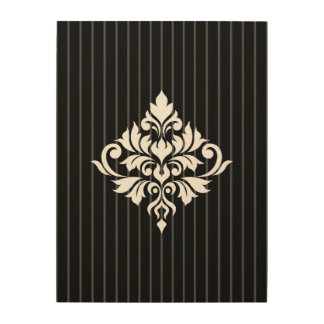 Flourish Damask Design White on Gray Stripes & Blk Wood Wall Decor