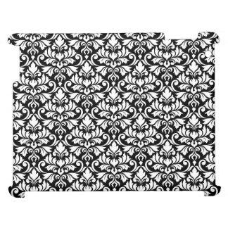 Flourish Damask (H) Pattern White on Black iPad Case