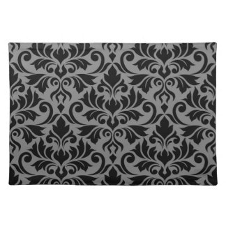Flourish Damask Lg Pattern Black on Gray Placemat