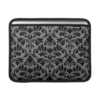 Flourish Damask Lg Pattern Black on Gray Sleeve For MacBook Air