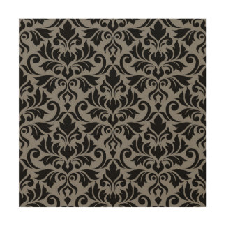 Flourish Damask Lg Pattern Black on Gray Wood Print