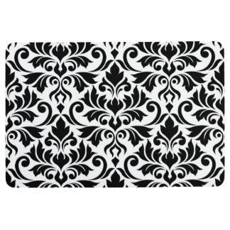 Flourish Damask Lg Pattern Black on White Floor Mat