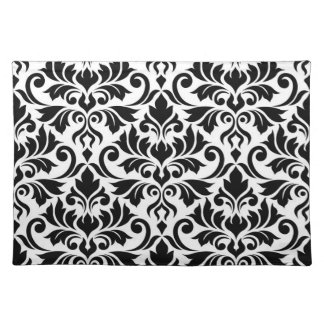 Flourish Damask Lg Pattern Black on White Placemat