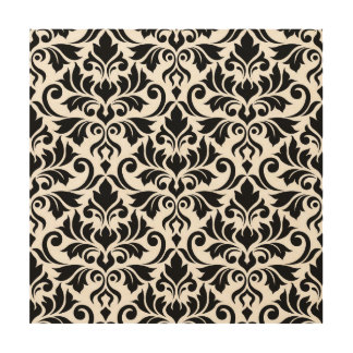 Flourish Damask Lg Pattern Black on White Wood Print