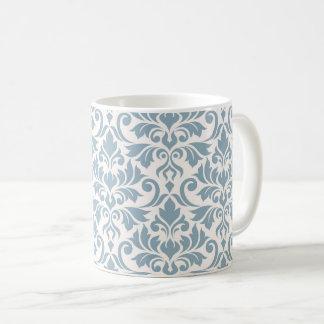 Flourish Damask Lg Pattern Blue on Cream Coffee Mug