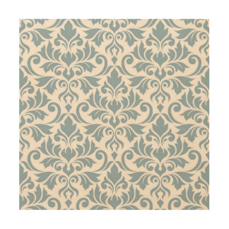 Flourish Damask Lg Pattern Blue on Cream Wood Wall Art
