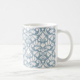 Flourish Damask Lg Pattern Cream on Blue Coffee Mug