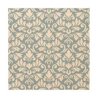 Flourish Damask Lg Pattern Cream on Blue Wood Print