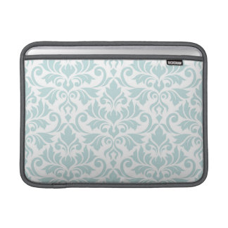 Flourish Damask Lg Pattern Duck Egg Blue on White MacBook Sleeve