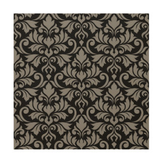 Flourish Damask Lg Pattern Gray on Black Wood Wall Decor