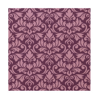 Flourish Damask Lg Pattern Pink on Plum Wood Wall Decor