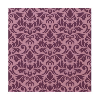 Flourish Damask Lg Pattern Plum on Pink Wood Print