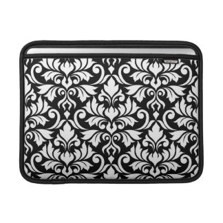 Flourish Damask Lg Pattern White on Black Sleeve For MacBook Air