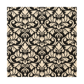 Flourish Damask Lg Pattern White on Black Wood Wall Decor