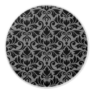 Flourish Damask Pattern Black on Gray Ceramic Knob