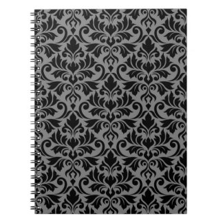 Flourish Damask Pattern Black on Gray Notebook