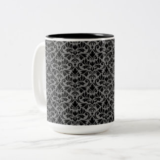 Flourish Damask Pattern Black on Gray Two-Tone Coffee Mug