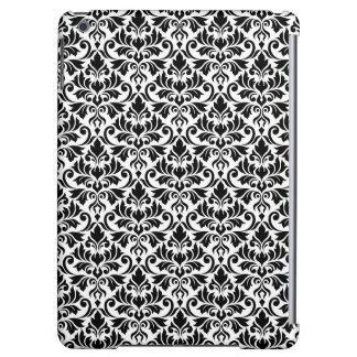 Flourish Damask Pattern Black on White
