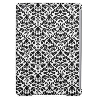Flourish Damask Pattern Black on White
