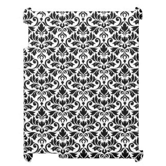 Flourish Damask Pattern Black on White Cover For The iPad 2 3 4