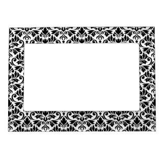 Flourish Damask Pattern Black on White Magnetic Frame