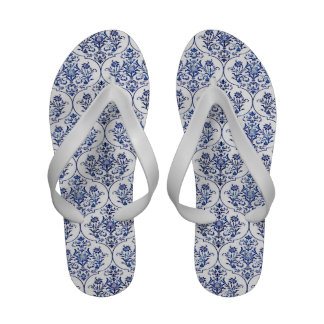 Flourish Damask Pattern - blue Flip Flops