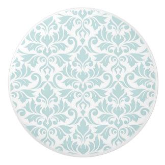 Flourish Damask Pattern Duck Egg Blue on White Ceramic Knob