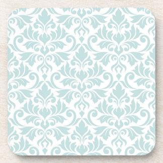 Flourish Damask Pattern Duck Egg Blue on White Coaster