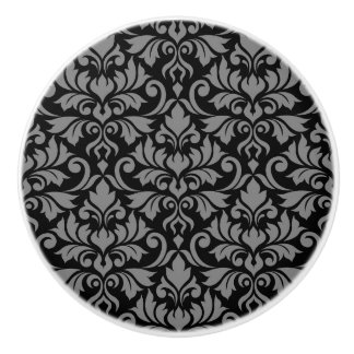 Flourish Damask Pattern Gray on Black Ceramic Knob