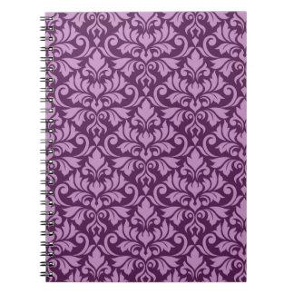 Flourish Damask Pattern Pink on Plum Notebook