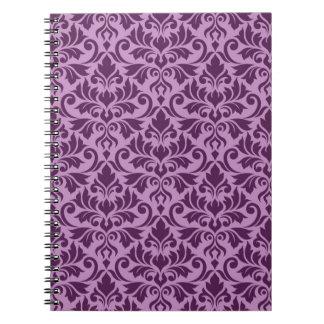 Flourish Damask Pattern Plum on Pink Notebook
