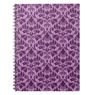 Flourish Damask Pattern Plum on Pink Notebooks