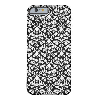 Flourish Damask Pattern White on Black Barely There iPhone 6 Case