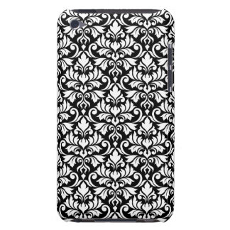 Flourish Damask Pattern White on Black Barely There iPod Covers