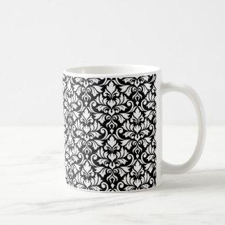 Flourish Damask Pattern White on Black Coffee Mug