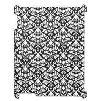 Flourish Damask Pattern White on Black iPad Cases