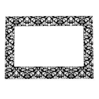 Flourish Damask Pattern White on Black Magnetic Frame
