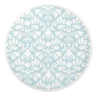 Flourish Damask Pattern White on Duck Egg Blue Ceramic Knob