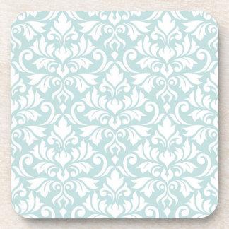 Flourish Damask Pattern White on Duck Egg Blue Coaster