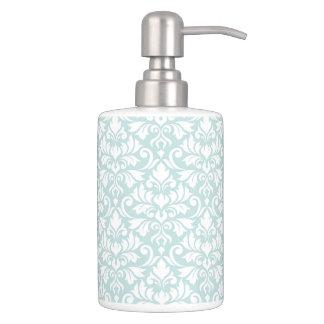 Flourish Damask Pattern White on Duck Egg Blue Soap Dispenser And Toothbrush Holder