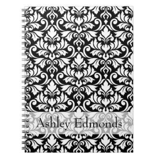 Flourish Damask Ptn White on Black (Personalized) Notebook