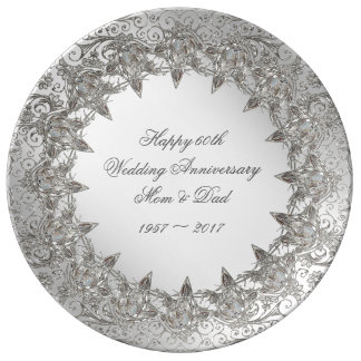 Flourish Diamond 60th Anniversary Porcelain Plate
