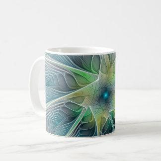 Flourish Fantasy Modern Blue Green Fractal Flower Coffee Mug