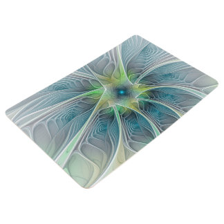 Flourish Fantasy Modern Blue Green Fractal Flower Floor Mat
