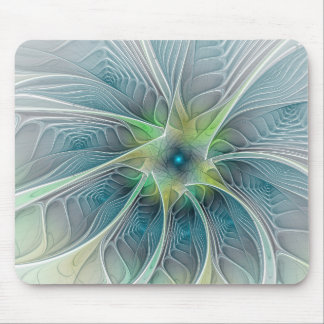 Flourish Fantasy Modern Blue Green Fractal Flower Mouse Pad