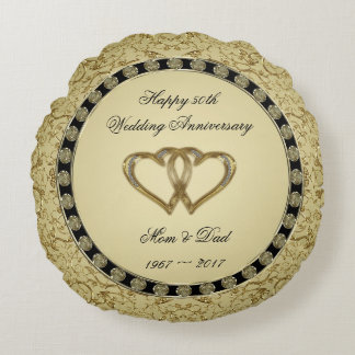 Flourish Golden Wedding Anniversary Throw Pillow