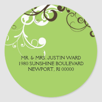 flourish; green address sticker