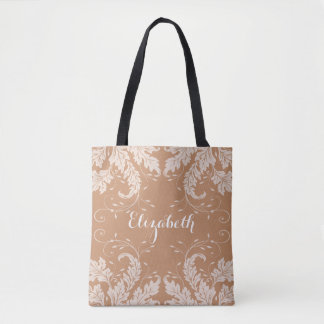Flourish Leaves & Floral Personalized Tote (camel)