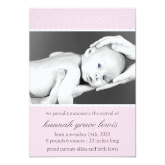 Flourish New Baby Announcements (Pale Pink)
