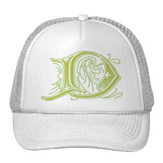 Flourish Olive Letter D Monogram Mesh Hat